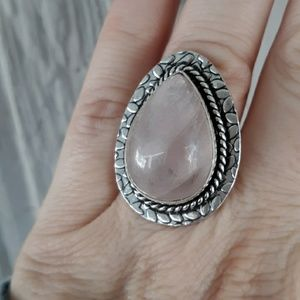 New Rose Quartz Silver Ring. Size 7.50